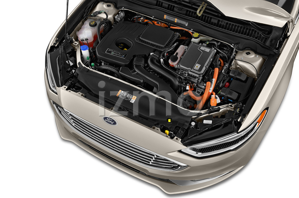 Car Stock 2017 Ford Fusion Energi Plug-In Hybrid SE Luxury 4 Door Sedan Engine  high angle detail view
