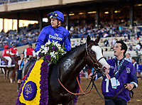 DEL MAR, CA - NOVEMBER 04: Mickael Barzalona, aboard Talismanic #1 after winning the Longines Breeders' Cup Turf race on Day 2 of the 2017 Breeders' Cup World Championships at Del Mar Racing Club on November 4, 2017 in Del Mar, California. (Photo by Jamey Price/Eclipse Sportswire/Breeders Cup)