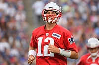 July 30, 2018: New England Patriots quarterback Tom Brady (12) warms up at the New England Patriots training camp held at Gillette Stadium, in Foxborough, Massachusetts. Eric Canha/CSM
