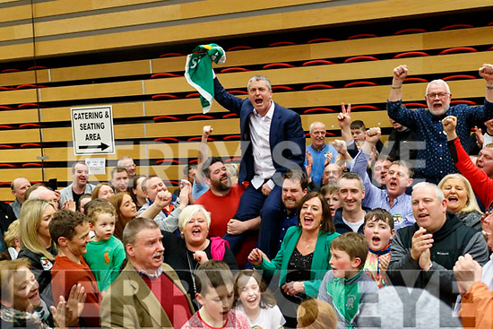 Pa Daly Sinn Fein celebrating his election with supporters at the count centre in Killarney on Sunday last.