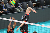 20th March 2018, PalaTrento, Trento, Italy; CEV Volleyball Champions League, playoffs, 1st leg; Trentino Diatec versus Chaumont VB 52 Haute Marne; 4 Javier Gonzalez CUB, 8 Sauli Sinkkonen FIN with a smash