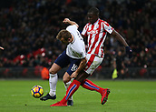 9th December 2017, Wembley Stadium, London England; EPL Premier League football, Tottenham Hotspur versus Stoke City; Kurt Zouma of Stoke City puts pressure on Harry Kane of Tottenham Hotspur