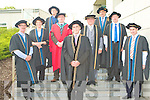 ITT HONORARY FELLOWSHIPS: The Honorees who were conferred with the title of Fellow of the Institute of Technology Tralee at a ceremony at the Solas building in the North Campus on Thursday l-r: Mr. Dick Spring, Sr Stanislaus Kennedy, Fr Pat Ahern, Dr Oliver Murphy (registrar ITT), Mr. Michael Carmody (President ITT), Mr. Flan Garvey (Chairman ITT Governing Body), Mr. Denis Brosnan, Mr. Michea?l O? Muircheartaigh and Mr. Jerry Kennelly.