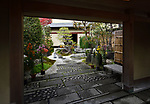 Japanese house courtyard with a beautiful traditional inner garden in Uji, Japan