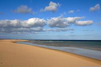 Waves lapping on the golden beaches of Playa de Sotavento de Jandia, Fuerteventurer, Canary Islands, Spain.