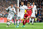 Real Madrid Lucas Vazquez and Karim Benzema and Bayern Munich Robert Lewandowski during Semi Finals UEFA Champions League match between Real Madrid and Bayern Munich at Santiago Bernabeu Stadium in Madrid, Spain. May 01, 2018. (ALTERPHOTOS/Borja B.Hojas)