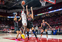 COLLEGE PARK, MD - FEBRUARY 9: Ashley Owusu #15 of Maryland rises over Jordan Wallace #44 of Rutgers for a shot during a game between Rutgers and Maryland at Xfinity Center on February 9, 2020 in College Park, Maryland.