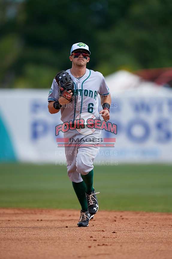 Daytona Tortugas center fielder TJ Friedl (6) jogs off the field during a game against the Florida Fire Frogs on April 8, 2018 at Osceola County Stadium in Kissimmee, Florida.  Daytona defeated Florida 2-1.  (Mike Janes/Four Seam Images)