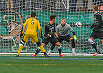 15 November 2015: Binghamton University Bearcat Goalkeeper Robert Moewes, a Junior from Dortmund, Germany, makes a save against the University of Vermont Catamounts at Virtue Field in Burlington, Vermont. The Bearcats fell to the Catamounts 1-0 in the America East Championship Game. Mandatory Credit: Ed Wolfstein Photo *** RAW (NEF) Image File Available ***