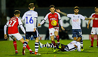 Fleetwood Town's Gethin Jones steals the ball from Bury's Neil Danns<br /> <br /> Photographer Alex Dodd/CameraSport<br /> <br /> The EFL Checkatrade Trophy Group B - Bury v Fleetwood Town - Tuesday 13th November 2018 - Gigg Lane - Bury<br />  <br /> World Copyright &copy; 2018 CameraSport. All rights reserved. 43 Linden Ave. Countesthorpe. Leicester. England. LE8 5PG - Tel: +44 (0) 116 277 4147 - admin@camerasport.com - www.camerasport.com
