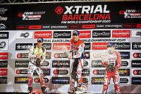 2nd February 2020; Palau Sant Jordi, Barcelona, Catalonia, Spain; X Trail Mountain Biking Championships; 2nd place Adam Raga of the TRRS Team , 1st place Toni Bou of the Montesa Team and 3rd place Jorge Casales of the Gas Gas Team on the podium after the X-Trail indoor Barcelona