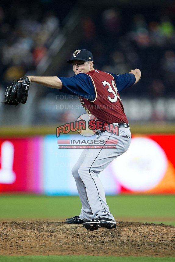 Scranton/Wilkes-Barre RailRiders relief pitcher Danny Burawa (38) in action against the Durham Bulls at Durham Bulls Athletic Park on May 15, 2015 in Durham, North Carolina.  The RailRiders defeated the Bulls 8-4 in 11 innings.  (Brian Westerholt/Four Seam Images)