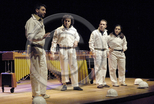 Brussels-Belgium - 16 March 2007---Performance of MarimB'UM by Grupo PERKUSTRA (www.perkustra.com); here, from left to right: Antonio DOMINGO, Javier HERRERO, Josep FURIÓ (Furio), Ruth PRIETO---Photo: Horst Wagner/eup-images