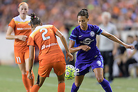 Houston, TX - Saturday Sept. 03, 2016: Poliana Barbosa, Kristen Edmonds during a regular season National Women's Soccer League (NWSL) match between the Houston Dash and the Orlando Pride at BBVA Compass Stadium.