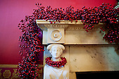Washington, DC - December 1, 2009 -- United States Cranberry garland decorates a fireplace mantle in the Red Room of the White House, Tuesday, December 1, 2009. .Mandatory Credit: Chuck Kennedy - White House via CNP