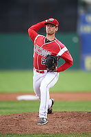 Batavia Muckdogs starting pitcher Reilly Hovis (28) during a game against the Aberdeen Ironbirds on July 16, 2016 at Dwyer Stadium in Batavia, New York.  Aberdeen defeated Batavia 9-0. (Mike Janes/Four Seam Images)