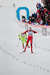 HOLMENKOLLEN, OSLO, NORWAY - March 17: (R-L) Linn Eriksen of Norway (NOR) and Vesna Fabjan of Slovenia (SLO) finish at the Ladies 30 km mass start race, free technique, at the FIS Cross Country World Cup on March 17, 2013 in Oslo, Norway. (Photo by Dirk Markgraf)