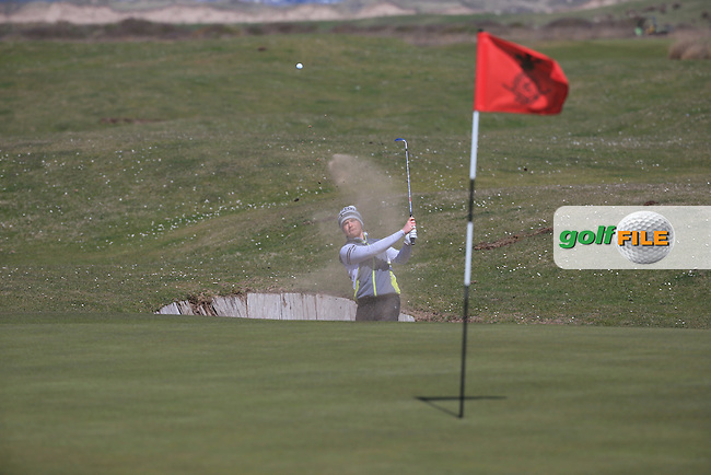 Josh McMahon (Wallasey GC) finds the sand during the Final Round of the West of England Championship 2016, at Royal North Devon Golf Club, Westward Ho!, Devon  24/04/2016. Picture: Golffile | David Lloyd<br /> <br /> All photos usage must carry mandatory copyright credit (&copy; Golffile | David Lloyd)