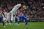 Real Madrid's Raphael Varane Atletico de Madrid's Diego Godin during the match of La Liga between Atletico de Madrid and Real Madrid at Vicente Calderon Stadium  in Madrid , Spain. November 19, 2016. (ALTERPHOTOS/Rodrigo Jimenez)