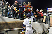 Second baseman Blake Tiberi (3) of the Columbia Fireflies tosses a ball to young fans during a game against the Augusta GreenJackets on Opening Day, Thursday, April 5, 2018, at Spirit Communications Park in Columbia, South Carolina. Columbia won, 4-2. (Tom Priddy/Four Seam Images