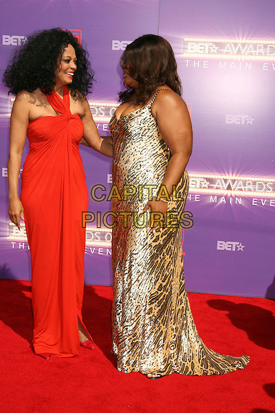 DIANA ROSS & MO'NIQUE .2007 BET Awards held the at Shrine Auditorium, Los Angeles, California, USA..June 26th, 2007.full length monique red leopard print dress halterneck.CAP/ADM/RE.©Russ Elliot/AdMedia/Capital Pictures