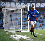 16.02.2020 Rangers v Livingston: Andy Halliday returns to the park after being gashed by the upturned leg of a metal chair