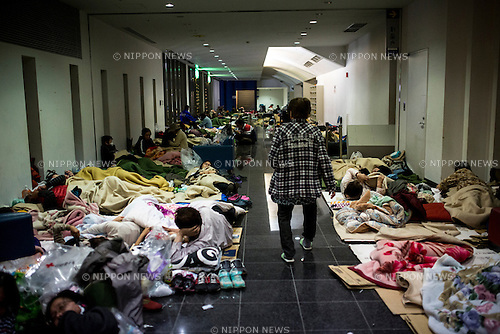 KUMAMOTO, JAPAN - APRIL 16: A earthquake survivors take shelter in Mashiki gymnasium center evacuation center, Mashiki town, Kumamoto Prefecture, Japan on April 16, 2016. As of April 16, Over 500 Affected residents are now staying in a temporary shelter. The area was severely hit by a magnitude-6.5 quake Thursday night and followed by magnitude-7.3 quake on Saturday early morning on April 16, 2016 in Kumamoto prefecture, Japan. (Photo by Richard A. de Guzman/AFLO)