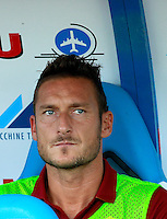 """Calcio, Serie A: Empoli vs Roma. Empoli, stadio """"Carlo Castellani"""" 13 settembre 2014. <br /> Roma forward Francesco Totti sits on the bench prior to the start of the Italian Serie A football match between Empoli and AS Roma at Empoli's """"Carlo Castellani"""" stadium, 13 September 2014.<br /> UPDATE IMAGES PRESS/Isabella Bonotto"""