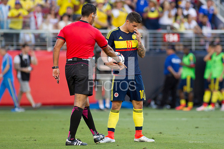 Action photo during the match United States vs Colombia, Corresponding Group -A- America Cup Centenary 2016, at Levis Stadium<br /> <br /> Foto de accion durante el partido Estados Unidos vs Colombia, Correspondiante al Grupo -A-  de la Copa America Centenario USA 2016 en el Estadio Levis, en la foto: (i-d) Arbitro Roberto Garcia Orozco (MEX) y James Rodriguez de Colombia<br /> <br /> 03/06/2016/MEXSPORT/Victor Posadas.