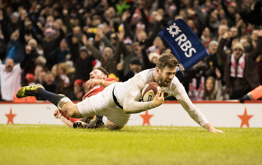 England's Elliot Daly scores his sides second try<br /> <br /> Photographer Simon King/CameraSport<br /> <br /> RBS Six Nations Championship - Wales v England - Saturday 11th February 2017 - Principality Stadium - Cardiff<br /> <br /> World Copyright &copy; 2017 CameraSport. All rights reserved. 43 Linden Ave. Countesthorpe. Leicester. England. LE8 5PG - Tel: +44 (0) 116 277 4147 - admin@camerasport.com - www.camerasport.com