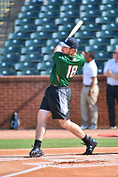 Chad Spanberger of the Asheville Tourists swings at a pitch during the home run derby as part of the All Star Game festivities at First National Bank Field on June 19, 2018 in Greensboro, North Carolina.(Tony Farlow/Four Seam Images)