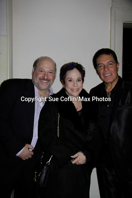 Days of Our Lives Louise Sorel poses with Frank Wildhorn and Clint Holmes at a night of entertainment by Frank Wildhorn (Jeckyll and Hyde, Bonnie & Clyde) and friends Clint Holmes (Las Vegas entertainer) at the Cafe Carlyle, New York City. Clint's wife Kelly Clinton also was there. (Photo by Sue Coflin/Max Photos)