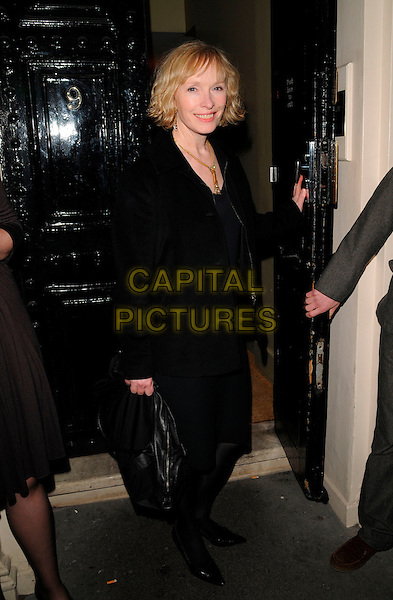 LINDSAY DUNCAN.Attending the Hightide Festival Launch Party, London, England, .February 28th 2008..full length black coat bag.CAP/CAN.?Can Nguyen/Capital Pictures