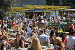 © Joel Goodman - 07973 332324 . 19/07/2016 . Manchester , UK . Crowds in Exchange Square . Sunshine in Manchester City Centre on the hottest day of the year so far . Photo credit : Joel Goodman
