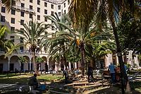 HAVANA, CUBA - SEPTEMBER 08: Cubans workers in the garden of the Hotel Nacional De Cuba on 8th of September, 2015 in Havana, Cuba. <br /> <br /> Daniel Berehulak for The New York Times
