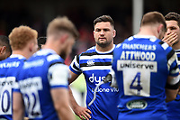 Elliott Stooke of Bath Rugby looks dejected after the final whistle. Gallagher Premiership match, between Gloucester Rugby and Bath Rugby on April 13, 2019 at Kingsholm Stadium in Gloucester, England. Photo by: Patrick Khachfe / Onside Images