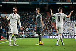 Real Madrid's Sergio Ramos (L) and Toni Kroos (R) and Real Sociedad's Adnan Januzaj during La Liga match between Real Madrid and Real Sociedad at Santiago Bernabeu Stadium in Madrid, Spain. January 06, 2019. (ALTERPHOTOS/A. Perez Meca)<br />  (ALTERPHOTOS/A. Perez Meca)