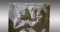 Hittite orthostat relief depicting a god. Hittie Period 1450 - 1200 BC. Hattusa Boğazkale. Çorum Archaeological Museum, Corum, Turkey. Çorum Archaeological Museum, Corum, Turkey