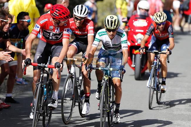 Race leader Chris Froome (GBR) Team Sky, Esteban Chaves (COL) Orica-Scott, Alberto Contador (ESP) Trek Segafredo and Vincenzo Nibali (ITA) Bahrain-Merida climb the 22% Alto Xorret de Cat&iacute; during Stage 8 of the 2017 La Vuelta, running 199.5km from Hell&iacute;n to Xorret de Cat&iacute;. Costa Blanca Interior, Spain. 26th August 2017.<br /> Picture: Unipublic/&copy;photogomezsport | Cyclefile<br /> <br /> <br /> All photos usage must carry mandatory copyright credit (&copy; Cyclefile | Unipublic/&copy;photogomezsport)