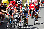 Race leader Chris Froome (GBR) Team Sky, Esteban Chaves (COL) Orica-Scott, Alberto Contador (ESP) Trek Segafredo and Vincenzo Nibali (ITA) Bahrain-Merida climb the 22% Alto Xorret de Cat&iacute; during Stage 8 of the 2017 La Vuelta, running 199.5km from Hell&iacute;n to Xorret de Cat&iacute;. Costa Blanca Interior, Spain. 26th August 2017.<br /> Picture: Unipublic/&copy;photogomezsport | Cyclefile<br /> <br /> <br /> All photos usage must carry mandatory copyright credit (&copy; Cyclefile | Unipublic/&copy;photogomezsport)