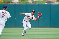 Springfield Cardinals center fielder Oscar Mercado (26) settles under a fly ball during a game against the San Antonio Missions on June 4, 2017 at Hammons Field in Springfield, Missouri.  San Antonio defeated Springfield 6-1.  (Mike Janes/Four Seam Images)