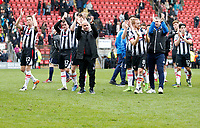 Grimsby Town FC salute the fans after their win during the Sky Bet League 2 match between Leyton Orient and Grimsby Town at the Matchroom Stadium, London, England on 11 March 2017. Photo by Carlton Myrie / PRiME Media Images.