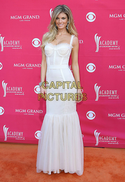 MARISSA MILLER .Country Music Awards held at the MGM Grand Garden Arena, Las Vegas, Nevada, USA, .5th April 2009. .full length white cream dress long maxi bustier .CAP/ADM/MJT.©MJT/Admedia/Capital Pictures