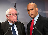 United States Senator Bernie Sanders (Independent of Vermont) and US Senator Cory Booker (Democrat of New Jersey) after making remarks at a press conference in the US Capitol in Washington, DC announcing a Democratic package of three bills to be introduced in the US Senate and US House to control prescription drug prices on Thursday, January 10, 2019.<br /> Credit: Ron Sachs / CNP /MediaPunch