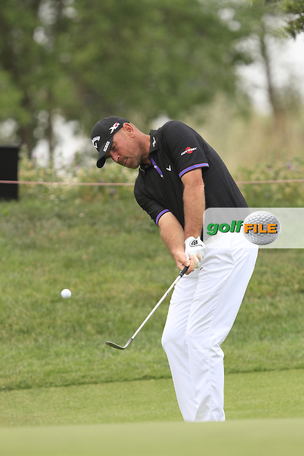 Thomas Bjorn (DEN) on the 18th green during Round 1 of the Open de Espana  in Club de Golf el Prat, Barcelona on Thursday 14th May 2015.<br /> Picture:  Thos Caffrey / www.golffile.ie