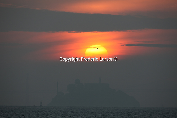 Alcatraz Island was topped off by the sunrise as pelicans flew across the east San Francisco Bay in California.