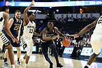 WINSTON-SALEM, NC - FEBRUARY 24: Notre Dame's Temple TJ Gibbs (10) and Wake Forest's Bryant Crawford (13). The Wake Forest University Demon Deacons hosted the University of Notre Dame Fighting Irish on February 24, 2018 at Lawrence Joel Veterans Memorial Coliseum in Winston-Salem, NC in a Division I men's college basketball game. Notre Dame won the game 76-71.