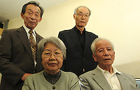 Founder of the Skilled Veterans Core, Yastel Yamada, 72, (top left with tie)  and co-founder, Professor Nobuhiro Shirotani, 72 (top right black shirt) , Ms Kazuko Sasaki, 72 and Michiaki Otomoto, 74, some of the 274 OAP's who plan to enter the nuclear facity at Fukushima and fix the leaking power plant. <br /> <br /> photo by Richard Jones  / Sinopix