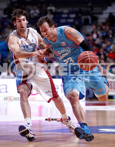 Asefa Estudiantes' Carl English (r) and Blusens Monbus' Alberto Corbacho during Liga Endesa ACB match.December 1,2012. (ALTERPHOTOS/Acero) /NortePhoto ©/NortePhoto /NortePhoto© /NortePhoto /NortePhoto