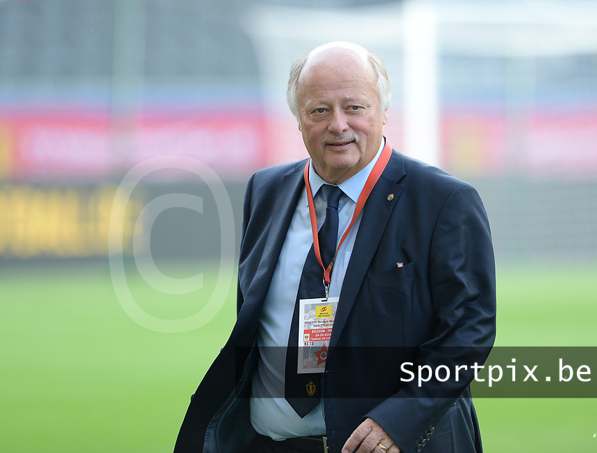 20180904 - LEUVEN , BELGIUM : Belgian David Delferiere , new chairman womensoccer for the Belgian Football Association pictured during the female soccer game between the Belgian Red Flames and Italy , the 8th and last game in the qualificaton for the World Championship qualification round in group 6 for France 2019, Tuesday 4 th September 2018 at OHL Stadion Den Dreef in Leuven , Belgium. PHOTO SPORTPIX.BE | DAVID CATRY